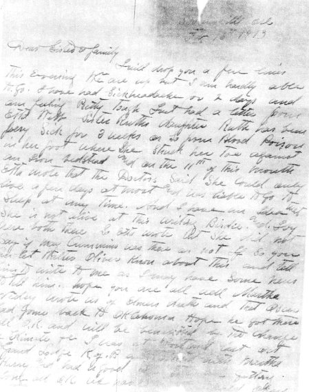 Page one mentions the impeding death of my G-G-grandmother