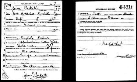 JamesPackettWWI RegistrationCard