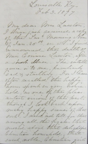In Search of Lawtons & Basingers:  1877 Letter of Condolence from Stuart Robinson to the Family of Corinne Elliott Lawton (1/4)
