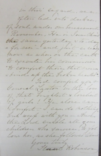 In Search of Lawtons & Basingers:  1877 Letter of Condolence from Stuart Robinson to the Family of Corinne Elliott Lawton (4/4)