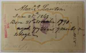 The back of the photo of Alexander James Lawton, giving the date the photo was made, his date of birth, and his age.