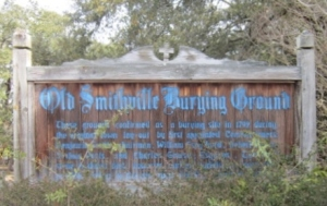 The sign at the entrance of the cemetery.