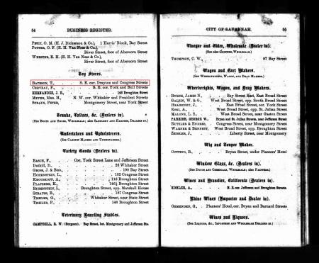 BatesonThomas Savannah Directory 1867 Toys