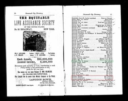 BatesonThomas Savannah Directory 1870