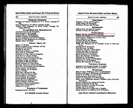 BatesonThomas Savannah Directory 1874 Variety Store