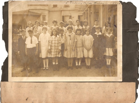 Genette is on the back row on the very left.  1925, The Pape School in Savannah, Georgia.  She's about 11 here.