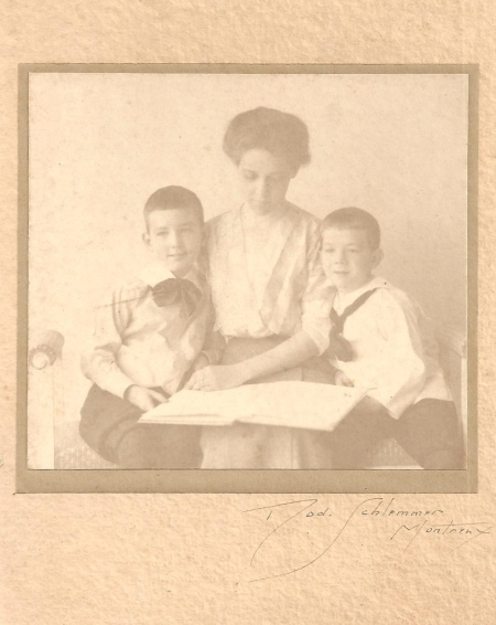 "Mary ""Leslie"" Basinger Lawton with her two sons Edward and William."