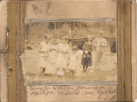 """Matilda Basinger, Genette, Garnett Basinger, Mary """"Leslie"""" Basinger Lawton, and Leslie's brother Walter Basinger."""