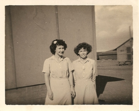 An unidentified woman and Mary in the military during World War II.