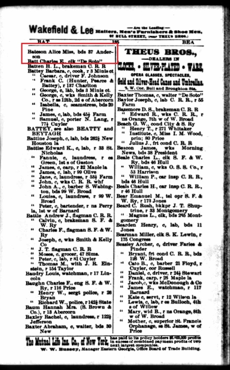 The 1893 Savannah City Directory. Alice Bateson, boards at 37 Anderson.