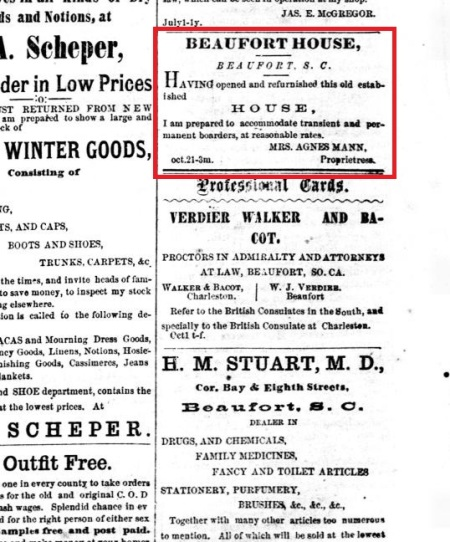 MannAgnes 2-3-1876 advert in Port Royal Standard & Commercial