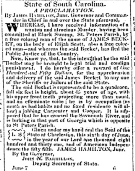 Becket and Scott 6-10-1831 Charleston Mercury