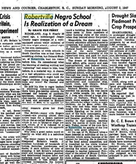 Negro School in Robertville SC