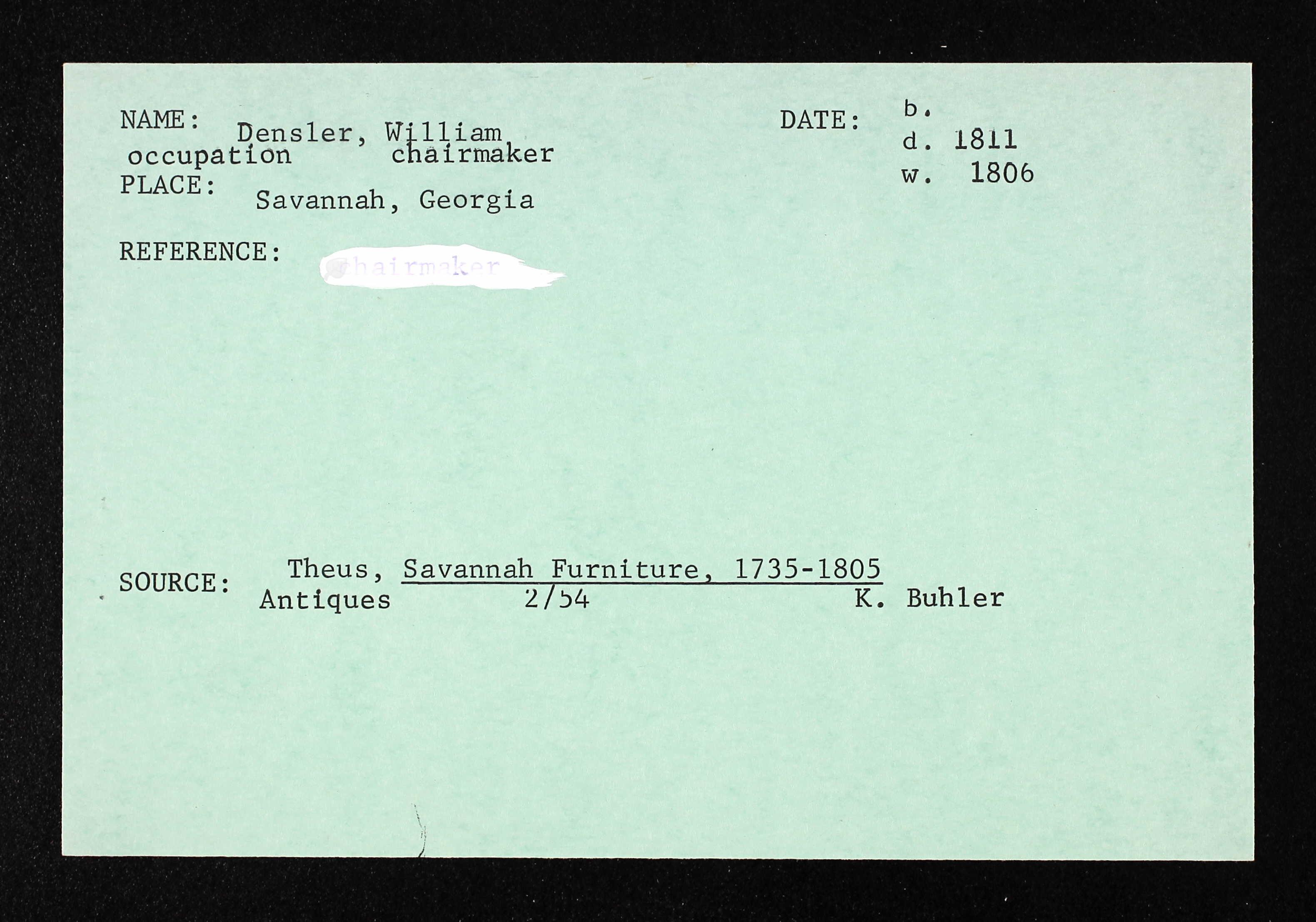 DenslerWilliam chairmaker 1806 note 1
