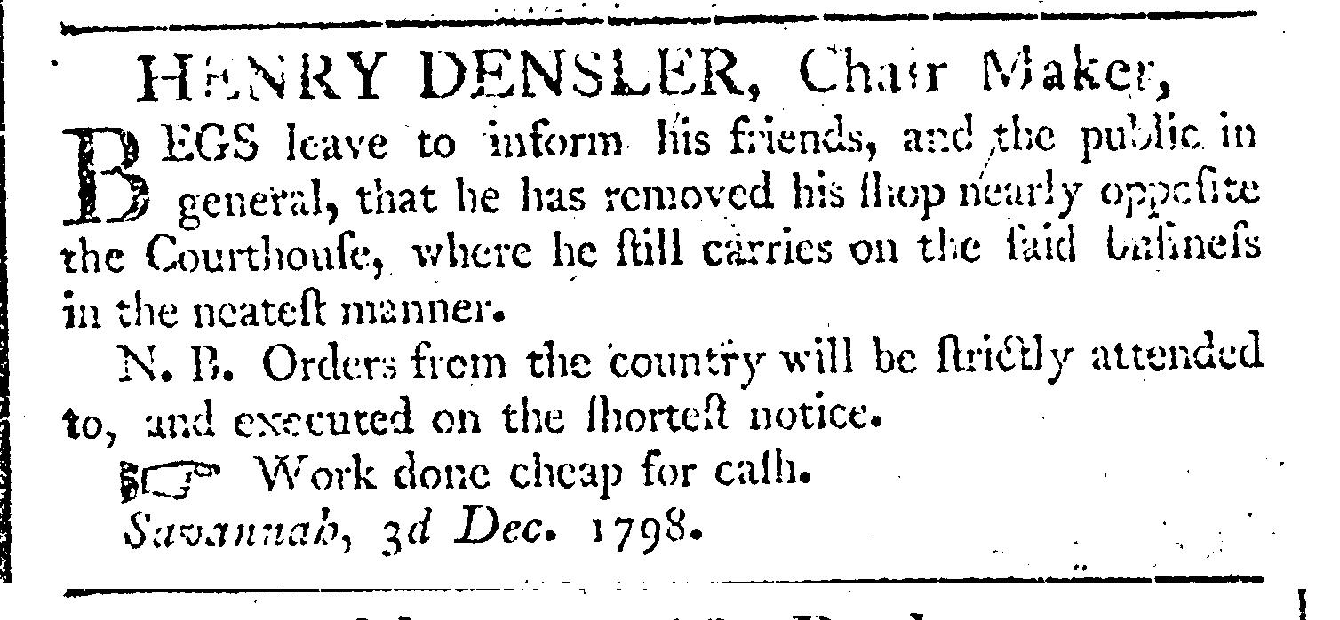 Georgia_Gazette_1798-12-13 DenslerHenry chairmaker