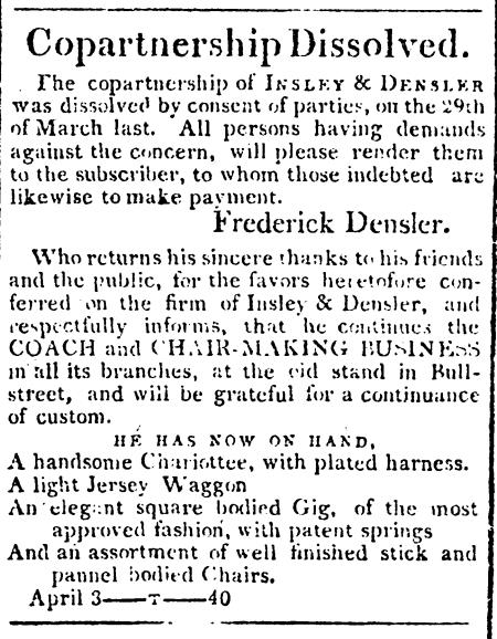 Savannah_Republican_1810-04-03 Densler partnership dissolved